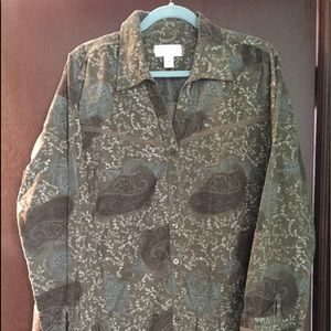 CJ Banks olive green corduroy jacket